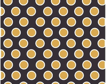 Black with gold and white dots craft  vinyl sheet - HTV or Adhesive Vinyl -  large polka dot pattern HTV712