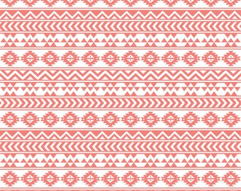 Coral and white tribal pattern craft  vinyl sheet - HTV or Adhesive Vinyl -  Aztec Peruvian pattern HTV904