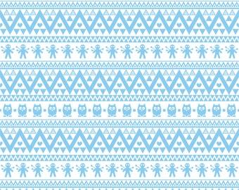 Light blue owl tribal pattern craft  vinyl sheet - HTV or Adhesive Vinyl -  Aztec Peruvian pattern HTV308