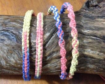 "Handmade Hemp Friendship Bracelet or Anklet - ""Rythm"""