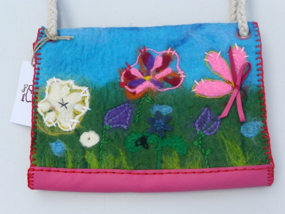 "Gift for her - Handbag with felted front panel ""Flower infusion"" + leather + cotton"