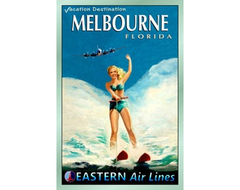 """MELBOURNE Florida - EASTERN Air Lines - Travel Poster - 3 sizes up to 24""""x 36"""" - New Retro Beach Pin Up Art Print 052"""