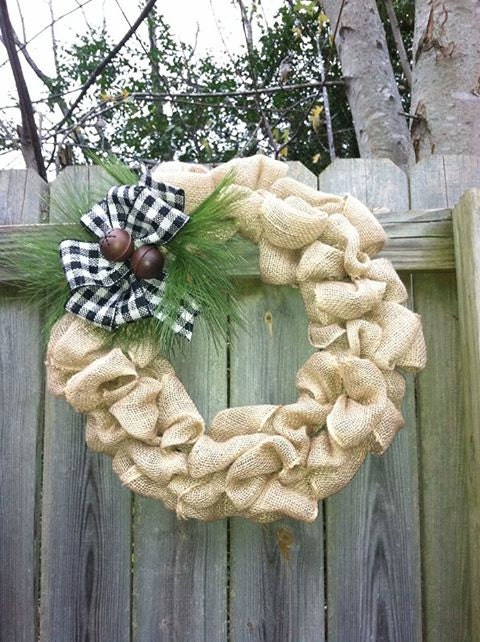 Large Rustic Burlap wreath with Plaid Bow with Pine Needles and Jingle Bells