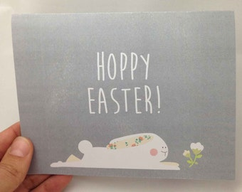 Easter Greeting Card - Hoppy Easter Greeting Card - Happy Easter