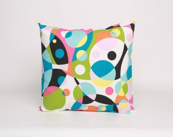 Abstract Pillow Cover Pink, Green, Blue and Black Cushion Cover 18 x 18 inch Pillow Cover Bright and Abstract Kalidescope Throw Pillow Cover