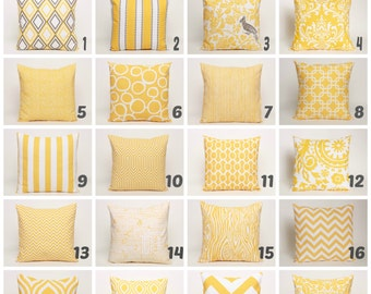 "Yellow Throw Pillow Covers Variety of Premier Prints to choose from designed for 14, 16, 18 or 20"" covers (Please convo for other sizes)"