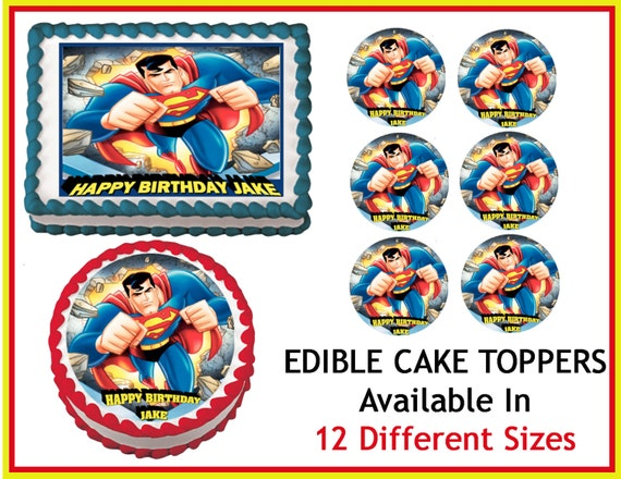 SUPERMAN Edible Cake Image Cupcake Topper Quarter Half 12 ...