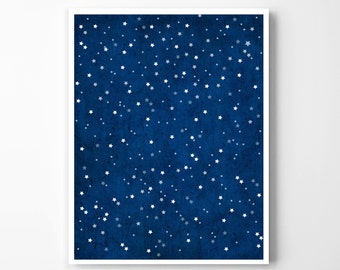 INSTANT DOWNLOAD: Starry Night Art Print.  Astronomy Inspired Serene Star Gazing Poster.