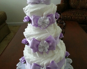 Three Tier Lavender Diaper Cake / Baby Shower Centerpiece
