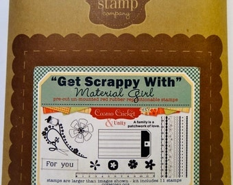 Unity Stamp Co, Get Scrappy With Material Girl Rubber Cling Stamps-New