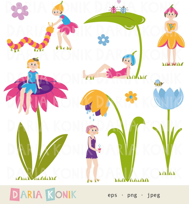 Flower fairy clip art set fairy clipart fairies by dariakonik