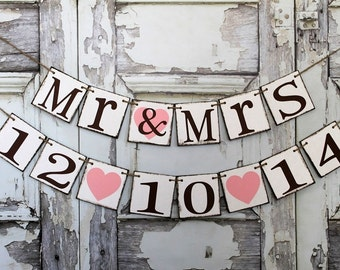 MR and MRS Banner - Sweetheart table signs - Wedding banners - Save the DATE signs - rustic banners