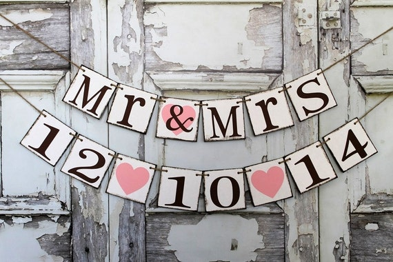 wedding banner mr and mrs sign