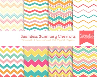 CLEARANCE Seamless Summery Chevron Pattern Digital Paper Set - Personal & Commercial Use