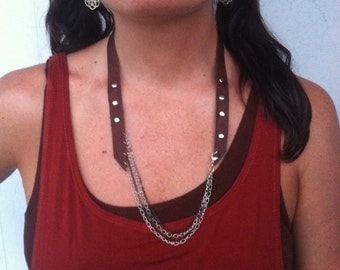 Assymetrical Leather and Chain Necklace