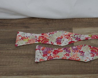 Handmade bow tie red floral self tie freestyle classic pattern colorful cotton bowtie