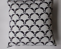"Pillow cover -  Ty Pennington charcoal ""wave""  print - fits a 20x20 pillow -100% Cotton"