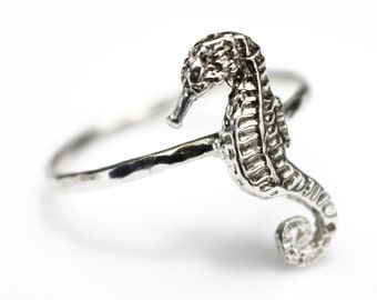 Seahorse Stacking Ring Nautical Jewelry Beach Jewelry Silver Ring Seahorse Ring