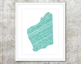 State of Western Australia Art Print - Custom Australian State Poster - Aqua Mint Teal Turquoise - Modern Minimalist Australia Wall Art