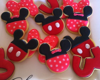 24 Mickey and Minnie iced  cookie platter.