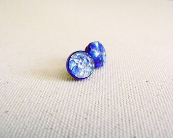 Small Glass Round Mosaic Simple Minimalistic 12mm Stud Earrings in Blue