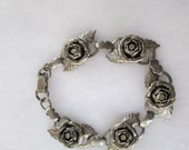 SILVER ROSES BRACELET, stainless bracelet, vintage roses, vintage bracelet, roses bracelet, rose rhinestones, bracelet roses, .