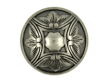 Metal Buttons - Damascus Embossed Flower Nickel Silver Metal Shank Buttons - 25mm - 1 inch - 6 pcs