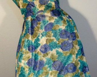 FREE SHIPPING    1950's Floral Taffeta Bubble Dress