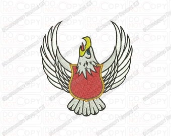 Eagle Shield Banner Embroidery Design in 4x4 and 5x7 Sizes