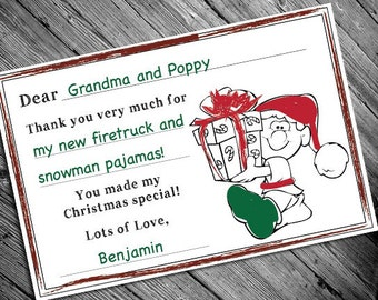 Printable Christmas Thank You Cards for Kids - Color Your Own