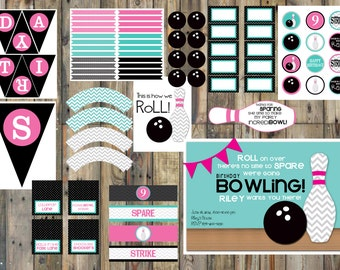 Large - Bowling Party Printable Pack