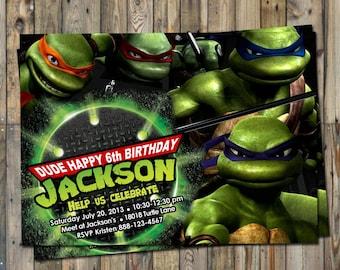 Teenage Mutant Ninja Turtles Birthday Invitation Personalized