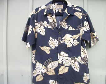 Cute RETRO HAWAIIAN SHIRT, Navy w Cream & Beige Big Leaf Patterans, By High Sierra, S