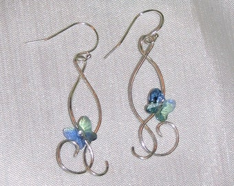 Swarovski Crystal Butterfly and Sterling Silver Earrings