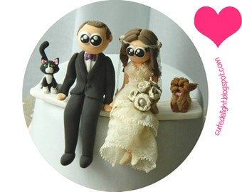 Wedding Cake Topper, Family cake topper, CUSTOM cake topper, FUNNY cake topper, wedding topper,Cat cake topper,Dog cake topper,animal topper