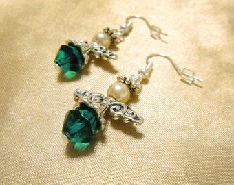 Green Glass Guardian Angel Earrings with Metal Skirt