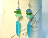 "Cultured Seaglass Dangle Earrings--A Stack of Tiny Seaglass Nuggets Accented w/ Silver Discs and Beads Holds a Long Seaglass ""Tooth"""