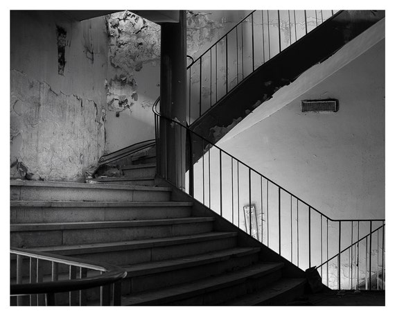 Fine art photography, Urban Decay staircase Black & White, 5x7, 8x10, Wall Decor, Home Decor, Giclée print