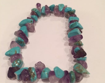 Amethyst and turquoise healing stone bracelet