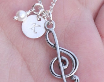 Treble Clef Necklace, Personalized Treble Clef Necklace, Treble Clef, Music Note Jewelry, Music Necklace, Music Jewelry, Custom Letter