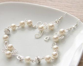 Wedding Bridal Jewelry Set, Swarovski Pearl Bridal Jewelry Set, Earrings Bracelet SET, Wire  art. 164-1 Alivolo