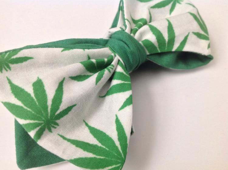 Marijuana leaf bow tie bud leaf weed cannabis bow by ...