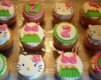 1 Dozen of Hello Kitty hawaiian Fondant Cupcake Toppers!