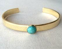 Gemstone Cuff Bracelet ~ Simple Hand Fabricated Brass and Blue Amazonite Cuff ~ Minimal Gold Stacking Bracelet
