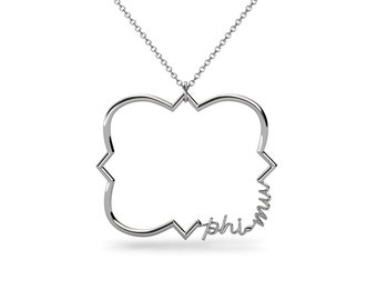 Quatrefoil Phi Mu Script Sorority Necklace // Sorority Jewelry // Sorority Gifts
