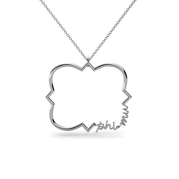 quatrefoil phi mu script sorority necklace by