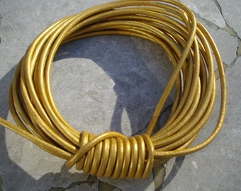 Metallic Leather Cord, METALLIC GOLD, 2mm, Genuine Leather Round Cording, 12 Feet,