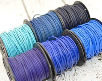 BLUE LEATHER CORD, Blue Violet Turquoise, Round Leather Cord Blue, 2mm 12 Feet, Great for Wrap Bracelets