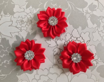 """1.5"""" Red Mini Satin Flowers with Rhinestone Center - 3 Pieces-Baby Hedaband-Applique-Girls"""