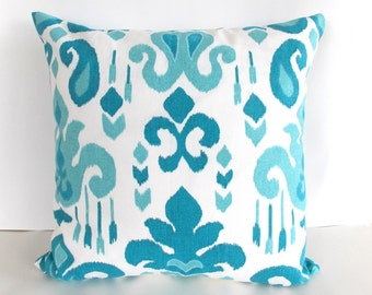 Indoor/Outdoor Throw Pillow - Blue and White Throw Pillow - Blue and White Toss Pillow